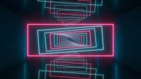 黑暗隧道内旋转的霓虹方框3D渲染视频素材