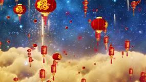 新年喜庆福字灯笼升起视频素材