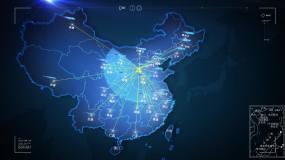 内科技感中国地图山西太原辐射全国覆盖AE模板