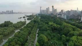 4k武汉汉口江滩洪水航拍视频素材