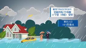 暴雨防汛救灾MG动画AE模板AE模板