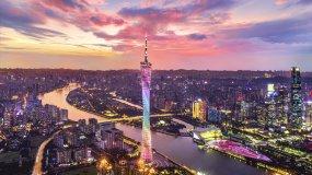 广州城市夜景地标建筑羊城城市素视频素材