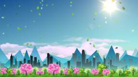 4K城市剪影清新背景视频素材