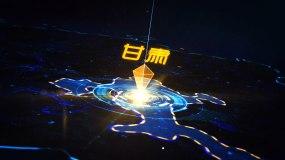 科技光线冲击甘肃地图AE模板