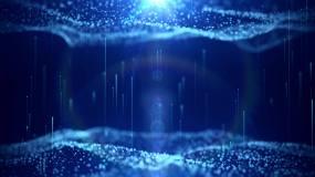 4K科技空间粒子波浪蓝色深邃背景视频素材