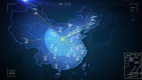 科技感中国地图陕西西安辐射全国覆盖AE模板
