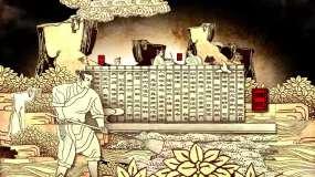 全息,震撼大气片头,中国风古人酿酒工艺视频素材