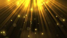 金光光芒金色粒子光束星光熠熠舞台背景视频素材