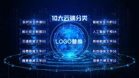 蓝色科技地球字幕文字分支分类AE模板