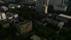 上海同济大学校园航拍4K原素材视频素材
