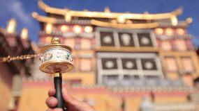 藏传佛教法器手持转经筒视频素材