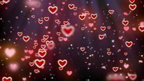 浪漫爱心粒子生长背景视频素材