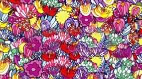 卡通绚丽花朵上升背景视频素材