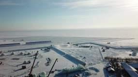 查干湖冰雕建设航拍视频素材