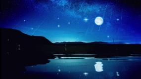 月色星空唯美背景视频素材