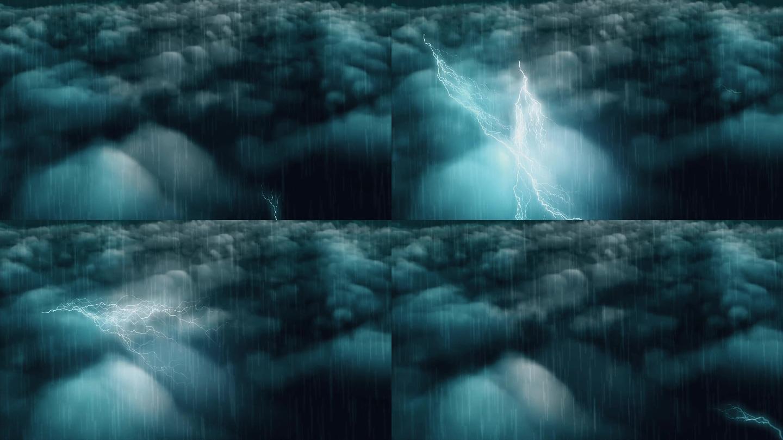 雷电交加暴雨天气大屏背景