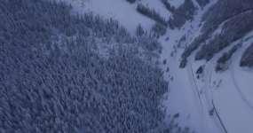 【4K】雪山雪松喀纳斯长白山航拍视频素材