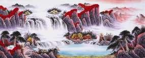 高清水墨山水枫叶红叶云雾瀑布视频素材视频素材