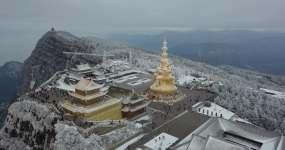 航拍峨眉山金顶雪景4kd-log视频素材