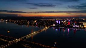 杭州西兴大桥夕阳夜景视频素材