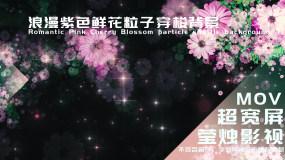 【大屏】浪漫紫色鲜花粒子穿梭背景视频素材