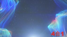 彩色发光线条流动梦幻舞台视频素材包