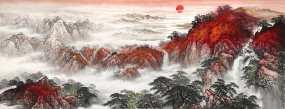 中国画水墨山水LED大背景视频素材