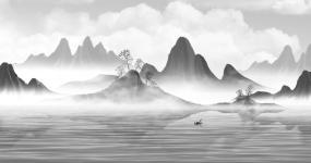 水墨画小船唯美意境视频素材