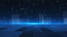 全息粒子科幻城市科技背景推进视频素材