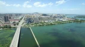 河南地级市南阳白河上空航拍视频素材
