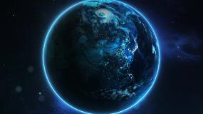地球夜景俯冲云层穿梭AE模板