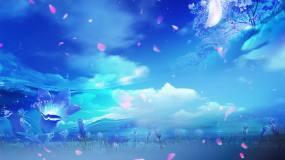 4K梦幻蓝色花瓣舞台背景AE模板