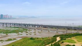 高清航拍海边高铁大桥复兴号和谐号运行视频素材