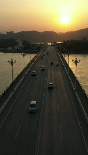 黑金滨海大桥日落航拍视频素材