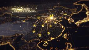 原创大气金色粒子地图AE模板三个版本AE模板