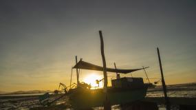 退潮后的渔港与渔船日出延时摄影高清4K视频素材