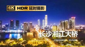 长沙湘江橘子洲大桥五一广场城市夜景航拍视频素材