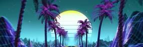 朋克椰树山体背景视频素材