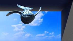 鲸鱼在天空穿越大楼翱翔,LED显示屏使用视频素材