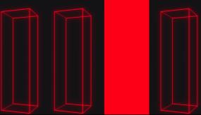 创意红色版四分屏gogo人屏互动背景视频素材