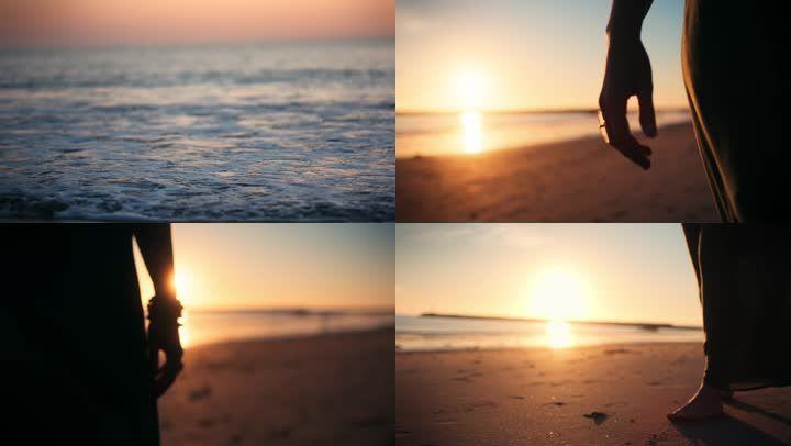 實拍海邊夕陽散步