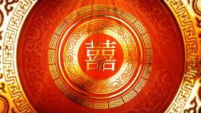 4K中式婚礼庆典金色双喜字背景视频视频素材