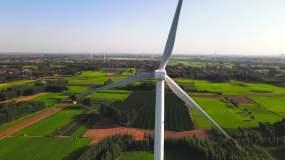 【4k原创】航拍中原大地风车发电素材视频素材