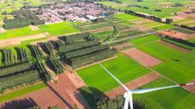 【4k原创】新农村风力发电航拍素材视频素材