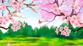 唯美桃花林十里桃花风景动态背景视频视频素材