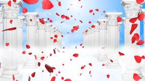 欧式罗马柱玫瑰花瓣婚礼殿堂LED背景视频视频素材