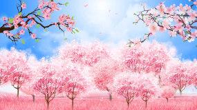 唯美粉红桃花桃林樱花节赏樱花LED背景视视频素材