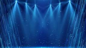4K蓝色年会舞台灯光背景视频素材