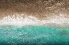 黄河入海口海浪黄蓝经济加了白色海浪视频素材
