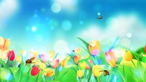 唯美春暖花开花卉绽放蝴蝶飞舞LED背景视视频素材